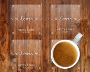 Love Wedding Personalised Etched Glass Coaster
